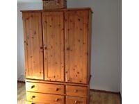 Antique Pine Tripe Wardrobe