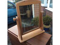 Pine swivel dressing table mirror