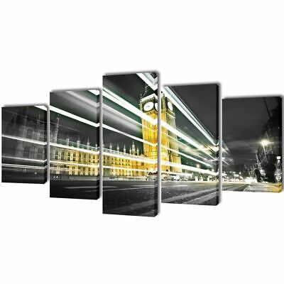 vidaXL Set Imagen Cuadro Pintura Póster Paisaje Lienzo Big Ben Londres 100X50