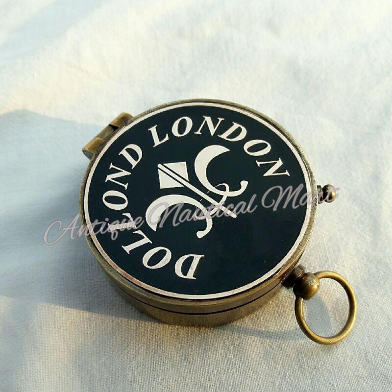 Antique Brass Nautical Compass Dollond London Vintage Desktop Decorative Item