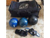 Tin pin bowling balls and bag