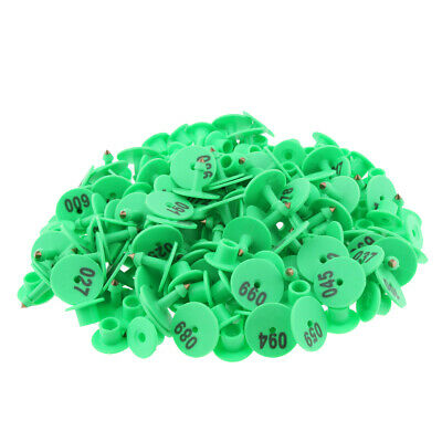 100pcs Small Numbered Livestock Ear Tag For Pig Cow Cattle Goat Sheep Green
