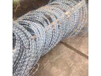 Rolls razor wire with steel fixing posts