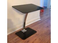 Black Tempered Glass and Chrome Laptop Table / Stand