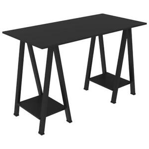 "Walker Edison D48SAWBL Modern 48"" Sawhorse Desk - Black (New other)"