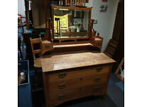 Used, Handsome Antique Art Nouveau Edwardian Solid Oak Dressing Table Chest of Drawers Mirrored Cabinet for sale  Edinburgh City Centre, Edinburgh