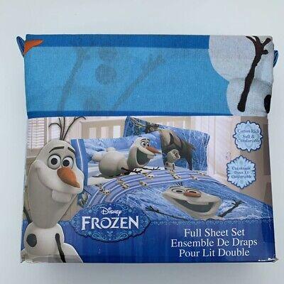 Disney Frozen Blue Full Sheet Set Poly Cotton With Two Pillow Case New (Disney Cotton Sheet Set)