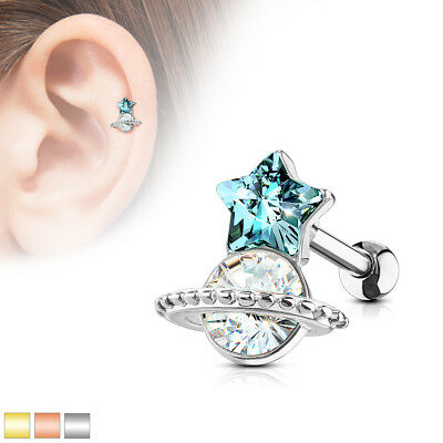 Star Cartilage Earring Stud - Aqua Star and Planet Surgical Steel Cartilage Tragus Barbell Stud Earring 16G
