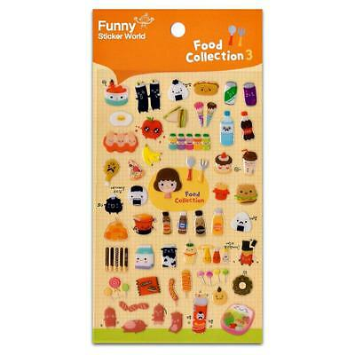 CUTE FOOD STICKERS Breakfast Lunch Dinner Gel Sticker Sheet Kids Craft Scrapbook