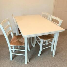 White Table and 4 x Chairs