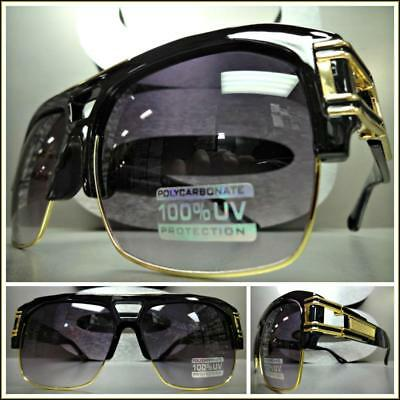 OVERSIZED RETRO HIP HOP RAPPER Style SUNGLASSES Black & Gold