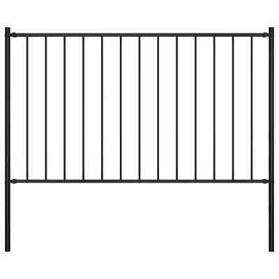 vidaXL Fence Panel with Posts Powder-coated Steel 1.7x1.25m Black Barrier