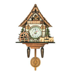 Antique Cuckoo Wall Clock Creative Wood Clock  Living Room Bedroom Decor Gifts E