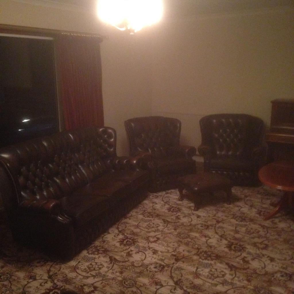 Sofa armchairs and footstool for sale
