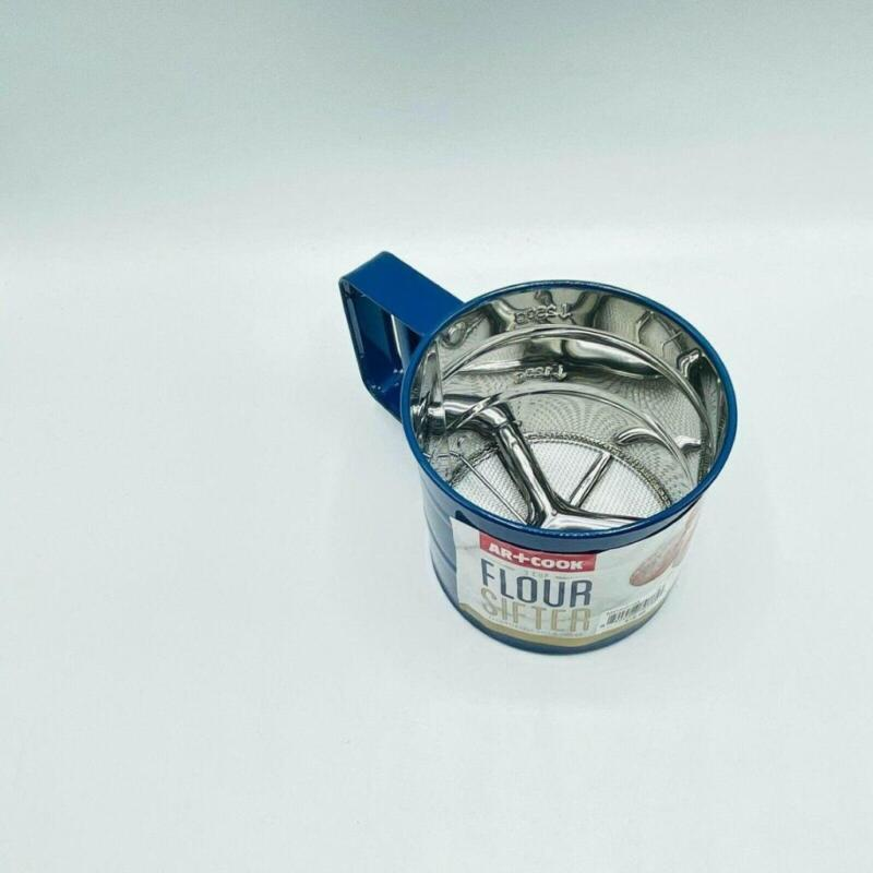 Art + Cook Blue Stainless Steel Flour Sifter With 3 Cup Measuring
