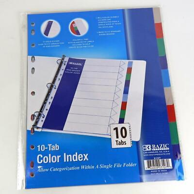 Color Index 10 Tab Bazic Products 3 Or More Ring Binder Divider New Long Lasting