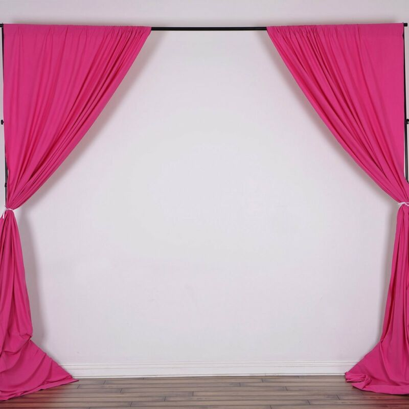 FUCHSIA 10 x 10 ft Polyester BACKDROP CURTAINS Drapes Panels Home Decorations