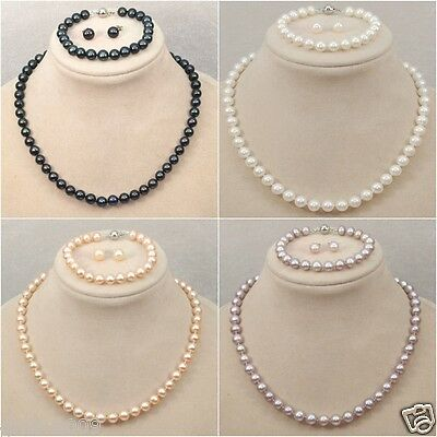 Genuine Natural 8mm Akoya shell Pearl Necklace Bracelet Earring A Set AAA ()
