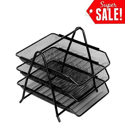Tray Documents 3-tier Steel Mesh Desk Paper Storage Office Organizer Holder Rack