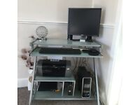 Del Desk Top computer with speakers . Epsom printer & Glass computer table