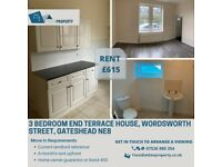 SPACIOUS 3 BEDROOM END TERRACE HOUSE TO LET WORDSWORTH STREET, GATESHEAD
