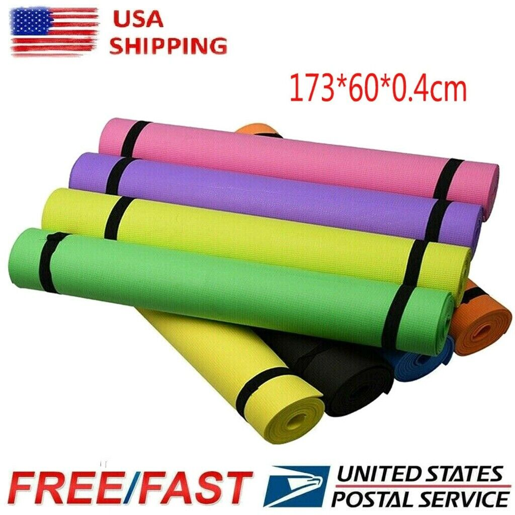 4mm Thick Yoga Mat Exercise Fitness Pilates Camping Gym Medi