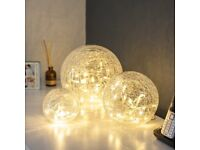 Set of 3 Battery Operated Fairy Light Orbs Crackled Glass Balls Warm White LED