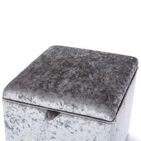 Small Crush Velvet Ottoman Storage Boxes