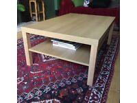 Large Coffee Table Oak Veneer Double Shelf Elegant and Useful 118cm x 78 cm x 45cm