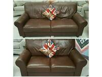 3 and 2 seater leather suite in vgc can deliver