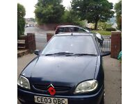 blue citreon saxo 03 plate good little runner,1 lady owner from new