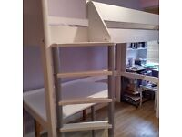 White stompa high sleeper bed with desk and shelf