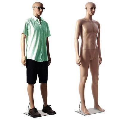 Full Body Male Mannequin Plastic Realistic Head Turns Dress Form 183cm W Base