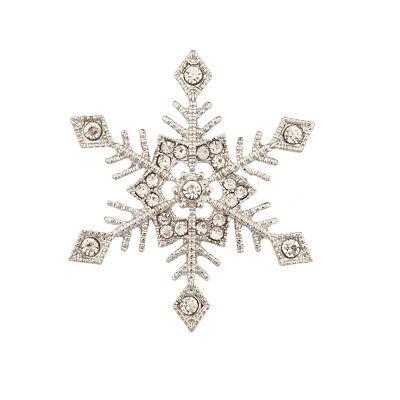 Lux Snowflake Wintertime Christmas Crystal Xmas Brooch Pin.