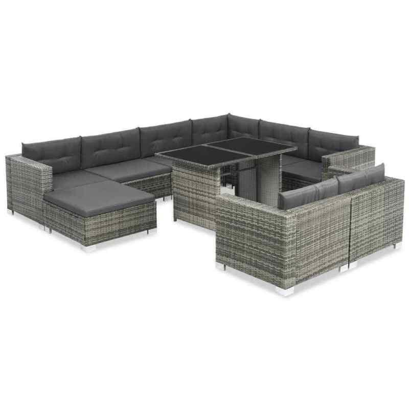 US Outdoor Sofa Set 28 Pieces Poly Rattan Wicker Lounge Garden Furniture