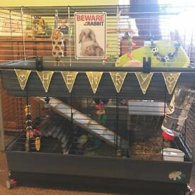 Two tier rabbit cage with custom build metal stand (accessories and rabbit not included)