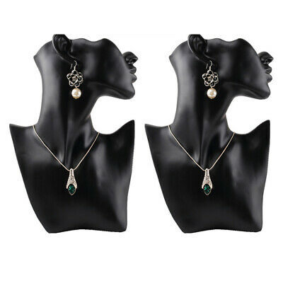 2pcsset Female Fashion Show Jewelry Head Mannequin Bust Display Black