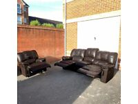 Very Comfy 3 Seater + 1 Armchair Recliner Sofa Set - Genuine Brown Leather ( Free Local Delivery )