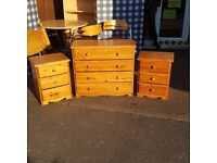 Solid wood chest of drawers + 2 x bedside