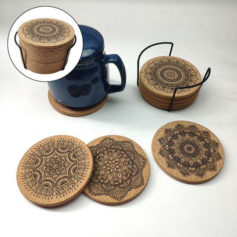 12pack Round Absorbent Cork Coasters Reusable Drink Coaster For Home Office