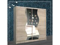 Cash on Delivery-Brand New Contemporary Mirror Design Double Sliding Door Wardrobe-Fast Delivery