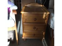 Three drawer bedside cabinet in pine