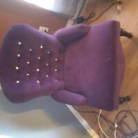 BEAUTIFUL VIBRANT PURPLE CHAIR WITH DIAMOND ACCENTS