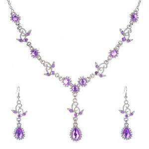 PURPLE RHINESTONE PARTY WEDDING NECKLACE and EARRING SET #F126