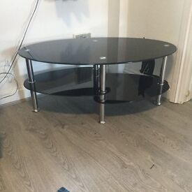Black glass and chrome coffee table/ tv unit