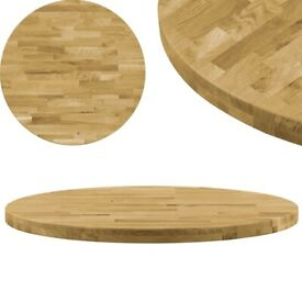 Table Top Solid Oak Wood Round 44 mm 500 mm-245993