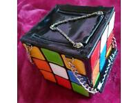 'Let's Fly' Women's Rubiks Cube Square Handbag Clutch Bag Purse