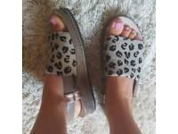 Clarks leopard print sandals size 6