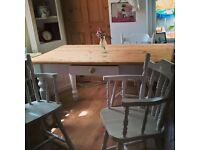 PINE TABLE + DRAWER WITH 4 CHAIRS FREE DELIVERY