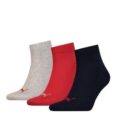 Puma Sports Socks Unisex Quarter Quarters 3 Pair Pack - Blue/Red/Grey